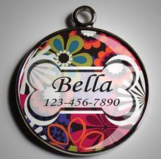 Dog ID Tag in Bright Flowers by BeaCrafty on Etsy, $8.95