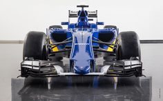 A front view of Sauber's new 2015 Formula One Car, the C34-Ferrari