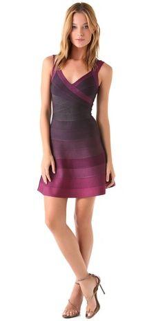 Herve Leger A Line Ombre Dress