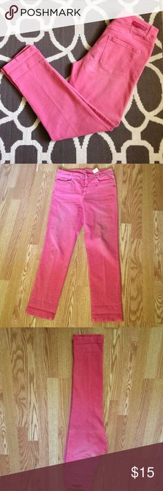 Cambio Straight Leg Jeans Size: 10 Straight leg Cambio jeans. Color: pink. Size: 10 (inseam is about 29.5 inches). There is some stretch to these jeans and they should be washed alone because of the way they were dyed. I love this color and wish they fit! Cambio Jeans Straight Leg