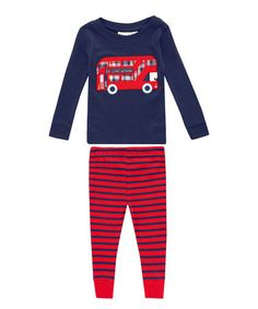 Look what I found on #zulily! Blue & Red Bus Pajama Set - Infant, Toddler & Boys #zulilyfinds