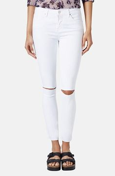 Topshop Moto 'Leigh' Distressed Skinny Jeans (White) (Regular & Short) | Nordstrom