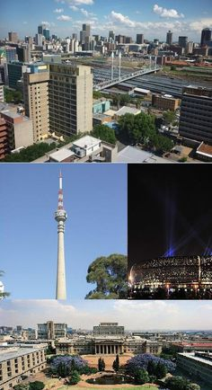 Clockwise: View of Johannesburg CBD from Braamfontein, FNB Stadium (Soccer City), The Wits University East Campus, and the Sentech Tower. Aerial Photography, Landscape Photography, Soccer City, Johannesburg City, Native Country, Living In Europe, Magnet, Africa Travel, Continents