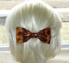 "VTG HAIR PIN  GRIP HEAD PIECE BARRETTE TORTOISE PLASTIC BOW SHAPE 4½"" CHARMING 30$"