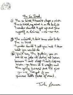 "for you blue — marina-margarina: Lennon's handwriting for ""I'm. Beatles Lyrics, The Beatles, Beatles Photos, Music Lyrics, Led Zeppelin Lyrics, Curriculum, The Doors Jim Morrison, Mystery, The White Album"