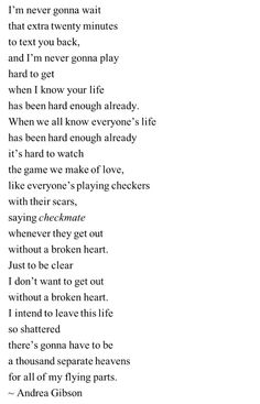 its hard to watch the game we make of love / like everyones playing checkers with their scars