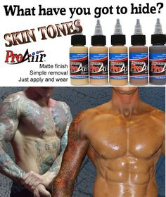 Cover tattoos with waterproof ProAiir skin tones.