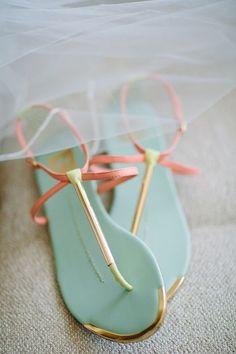 Aqua and coral sandals, summer shoes trends. Cute Flats, Cute Sandals, Cute Shoes, Me Too Shoes, Shoes Sandals, Pretty Sandals, Flat Sandals, Simple Sandals, Beautiful Sandals