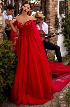 Tarik Ediz - 93926 Floral Appliqued Off-Shoulder Ballgown – Couture Candy Red Ball Gowns, Red Gowns, Bridesmaid Dresses, Prom Dresses, Formal Dresses, Pretty Dresses, Beautiful Dresses, Red Wedding Gowns, Red Lace Wedding Dress