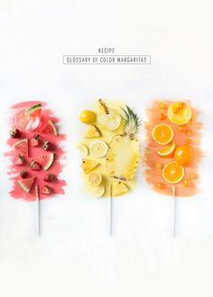 The prettiest Glossary of Color margarita recipes you ever did see! Perfect for Cinco de Mayo! - sugar and cloth - cocktails Colorful Cocktails, Refreshing Cocktails, Summer Cocktails, Spanish Gin, Diy Inspiration, Colorful Fruit, Margarita Recipes, Drink Recipes, Dinner Recipes
