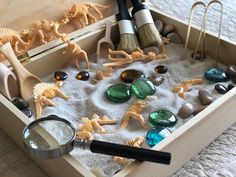 Combining childhood curiosity of dinosaurs along with an admiration of utilizing sensory play were t Baby Sensory Play, Sensory Activities Toddlers, Montessori Activities, Baby Play, Kindergarten Activities, Sensory Boxes, Sensory Table, Montessori Playroom, Waldorf Playroom