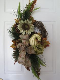 AUTUMN PINE Door Wreath Scented Swag Needle Pine by FunFlorals