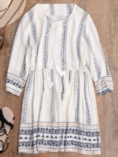 Stripe Print Mini Smock Dress - OFF WHITE S