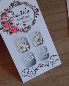 Manicure, Alice, Nail Art, How To Make, White Toenails, Art Nails, Flowers, Adhesive, Nail Manicure