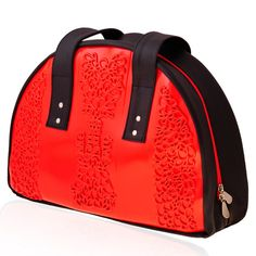 """Our Red Medusa PVC """"Whale"""" shoulder bag is a classic everyday bag which offers great space and strength.  Chic unique and special the Whale Bag is made of a combination of plastic and a """"leather like"""" synthetic fabric originating from the automobile industry. It allows you to carry anything you need for your active and fun lifestyle.  Easy to clean and keep in good shape.   All MeDusa bags are handmade, vegan and cruelty free."""