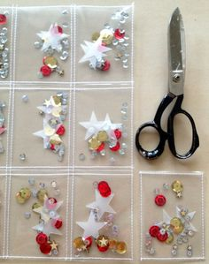 Stick or stitch vellum or plastic to create these nice little pockets with sequins. #kaartenmaken #cards #