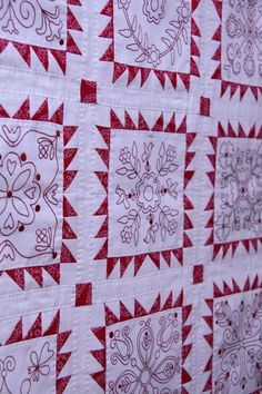 One day I will make a redwork embroidery BOM quilt similar to this bec. I love to embroider