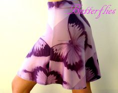 skirt with butterflies pink skirt purple skirt by TheCateEscape