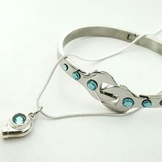 Aquamarine Turbo Necklace and matching Wrench Bracelet! Get yours online!  www.GarageGirlsJewelry.com #GarageGirls #theoriginal #wrench #spanner #spannerbracelet #wrenchbracelet #carjewelry #carenthusiast #automotivejewelry #cargirljewelry #aquamarine
