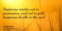 """Happiness resides not in possessions, and not in gold, happiness dwells in the soul."""