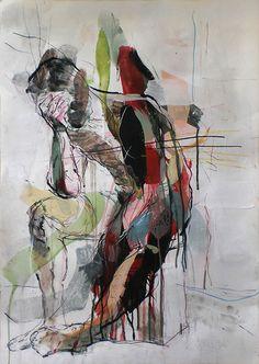 Male nude, mixed media, anatomical study, modern sketch art.