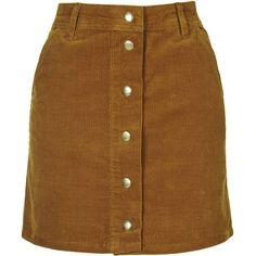 TOPSHOP Cord Mini Skirt (83 CAD) ❤ liked on Polyvore featuring skirts, mini skirts, tan, brown skirt, topshop skirts, cotton a line skirt, tan skirt and short mini skirts