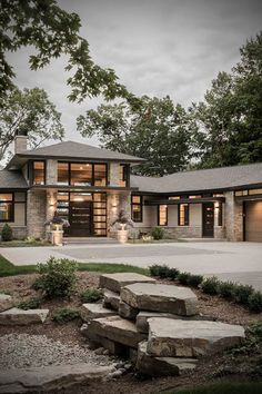 Buechel Stone architecture & design inspiration for full & thin stone veneers, natural landscape stone & stone cut masonry is everywhere. Dream House Exterior, Dream House Plans, House Ideas Exterior, Modern House Plans, Modern Houses, Modern Castle, Modern Family House, Modern Buildings, Stone Veneer Exterior