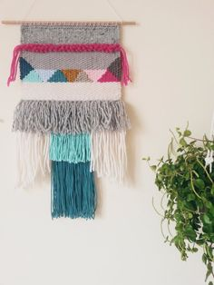 Handmade one of a kind wall tapestry. Handmade in a weaving loom, with love and patience. Made with 100% natural fibers (a mix of cotton,