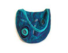 Felted bag felt bag felt handbag wool bag turquoise puple blue winter bag boho OOAK