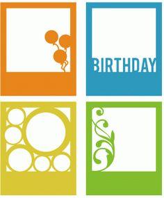 Silhouette Online Store - View Design #65549: birthday polaroid frame set of 4