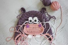 Crochet Hippo Hat Pattern - Repeat Crafter Me Crochet Hippo, Crochet Flower Hat, Crochet Baby Hat Patterns, Crochet Baby Hats, Knit Or Crochet, Crochet For Kids, Puppy Hats, Single Crochet Decrease, Repeat Crafter Me