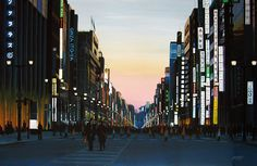 """GINZA, TOKYO 12"" By Socrates Rizquez - Enamels on melamine. www.socrates-art.es"