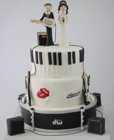 Musician wedding cake #music band cake toper