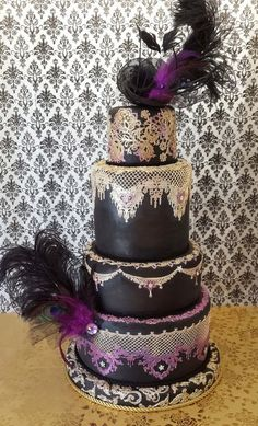 Stunner!  Dripping with Lace wedding cake  ~ all edible