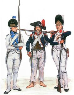 """Napoleon Line Infantry"" • Fusilier, 43e de Ligne, 1792 • Infantryman in campaign dress, 1795 • Grenadier, Garde Nationale de Paris, 1792"