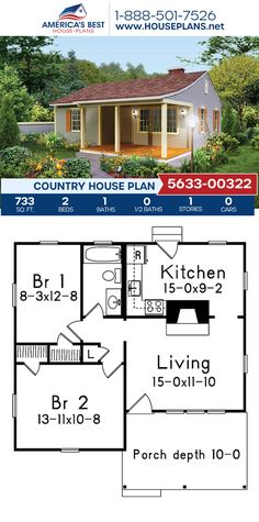 This tiny house plans offers a Country style with 733 square feet. Plan 5633-00322 also offers 2 bedrooms, 1 bathroom. and a deep-set front porch. #tinyhouse #countrystyle #architecture #houseplans #housedesign #homedesign #homedesigns #architecturalplans #newconstruction #floorplans #dreamhome #dreamhouseplans #abhouseplans #besthouseplans #newhome #newhouse #homesweethome #buildingahome #buildahome #residentialplans #residentialhome Family House Plans, Best House Plans, Country House Plans, Dream House Plans, Architecture Blueprints, Architecture Design, Tiny Homes, New Homes, Garden Sheds