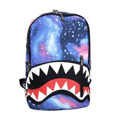Cute Cartoon Shark Teeth Print Canvas Backpack Unisex School Bag