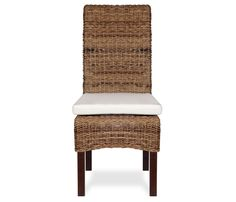 Catalina Side Chair - Natural - Treated with a water based, eco-friendly wax finish, the Catalina woven side chair is uniquely constructed of handwoven abaca over a solid mahogany and