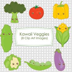 Kawaii Vegetables Veggies Clip Art - PNG
