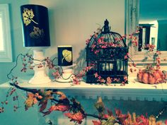 Fall mantle birdcage & candles