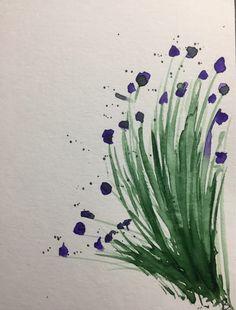 Original Aquarell Blumen abstrakt Aquarellpostkarte watercolor flowers