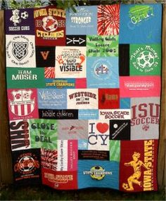 Mission trip and sport t-shirts make a great memory quilt.
