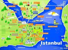 Tourist Map Of Istanbul Turkey Istanbul Tourist Map, Istanbul Turkey Map, Istanbul Hotels, Istanbul Travel, Attraction World, Cool World Map, Turkey Destinations, Turkey Travel, Turkey Vacation
