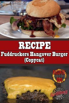 Fuddruckers Hangover Burger Recipe Definitely one of the tastiest specialty burgers in the country! This Fuddruckers Hangover Burger recipe will make your backyard BBQ an. Hot Dog Recipes, Hamburger Recipes, Ground Beef Recipes, New Recipes, Favorite Recipes, Family Recipes, Hamburger Hotdogs, Potluck Recipes, Dinner Recipes