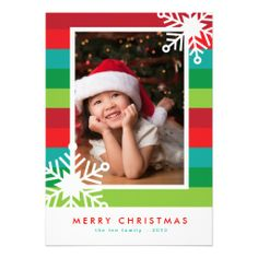 Modern Stripes Christmas Photo Card // by Origami Prints #cards #family #holiday