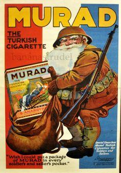 1918 Beautiful Antique Murad Turkish Cigarette Advertisement - Vintage Ads. Santa Soldier WW1 Memorabilia