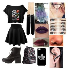 """""""Pastel goth """" by missandybiersack ❤ liked on Polyvore featuring Charlotte Russe, Casetify, women's clothing, women's fashion, women, female, woman, misses and juniors"""