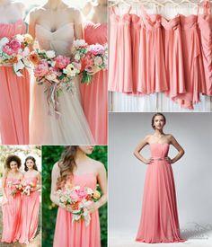 Key Color for Bridesmaid Dresses 2014–Coral, Wedding Custom Dresses, Coral Bridesmaids Dresses #wedding #coral #bridesmaid #dress www.loveitsomuch.com
