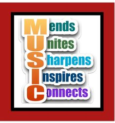 MUSIC Mends Unites Sharpens Inspires Connects quote Artwork Print by RONTOURAGE on Etsy