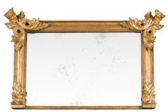 "William IV giltwood overmantle mirror with ogee molded frame, boldly carved acanthus leaf ""wings"" in top corners and more subdued acanthus leaves at bottom corners.      English Circa 1835     Height: 35"" 